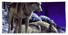 Wolf Painting - Night Watch Beach Towel
