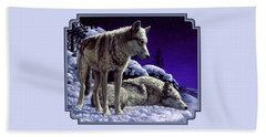 Wolf Painting - Night Watch Beach Towel by Crista Forest