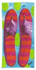 Beach Sheet featuring the painting Flip Flops  by Eloise Schneider