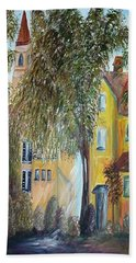 Beach Towel featuring the painting Morning In The Old Country by Eloise Schneider