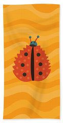 Orange Ladybug Masked As Autumn Leaf Beach Sheet