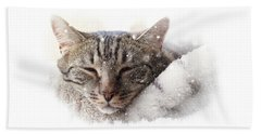 Cat And Snow Beach Towel