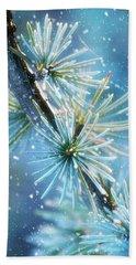 Blue Atlas Cedar Winter Holiday Card Beach Towel
