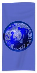 Blue Moonlight Lovers Beach Towel