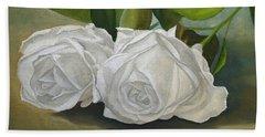 White Roses Beach Towel