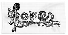 Beach Towel featuring the drawing Mermaid Love by Monique Faella