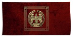 Roman Empire - Gold Imperial Eagle Over Red Velvet Beach Towel