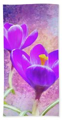 Our First Crocuses This Spring Beach Towel