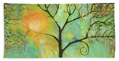 Hello Sunshine Tree Birds Sun Art Print Beach Towel