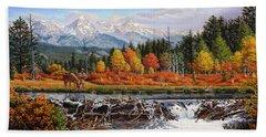 Western Mountain Landscape Autumn Mountain Man Trapper Beaver Dam Frontier Americana Oil Painting Beach Towel