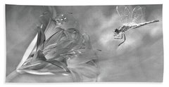 The Dragonfly And The Flower Beach Towel by Linda Lees