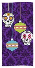 Feliz Navidad Holiday Sugar Skulls Beach Towel