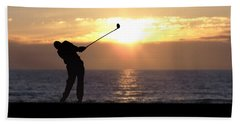 Beach Sheet featuring the photograph Playing Golf At Sunset by Phil Perkins