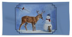 Whitetail Deer And Snowman - Whose Carrot? Beach Towel