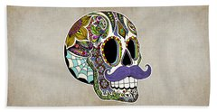 Beach Towel featuring the drawing Mustache Sugar Skull Vintage Style by Tammy Wetzel