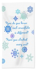 Snowflakes Beach Sheet by Methune Hively