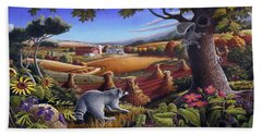 Rural Country Farm Life Landscape Folk Art Raccoon Squirrel Rustic Americana Scene  Beach Towel