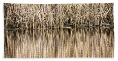 Golden Reed Reflection Beach Towel