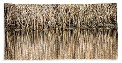 Golden Reed Reflection Beach Sheet