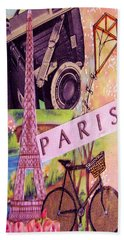 Beach Towel featuring the drawing Paris  by Eloise Schneider