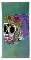 Beach Sheet featuring the drawing Catrina Sugar Skull by Tammy Wetzel
