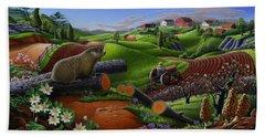 Farm Folk Art - Groundhog Spring Appalachia Landscape - Rural Country Americana - Woodchuck Beach Towel by Walt Curlee