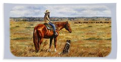 Horse Painting - Waiting For Dad Beach Towel