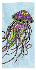 Beach Towel featuring the drawing Electric Jellyfish by Tammy Wetzel