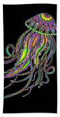 Beach Towel featuring the drawing Electric Jellyfish On Black by Tammy Wetzel