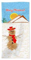 Tumbleweed Snowman Christmas Card Beach Towel