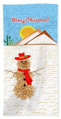 Tumbleweed Snowman Christmas Card Beach Sheet by Methune Hively