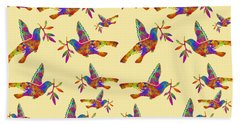 Dove With Olive Branch Beach Sheet by Christina Rollo