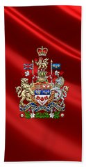 Canada Coat Of Arms Over Red Silk Beach Towel