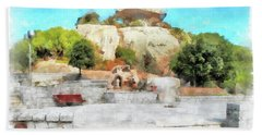 Arzachena Mushroom Rock With Children Beach Towel