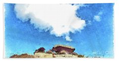 Arzachena Mushroom Rock With Cloud Beach Towel