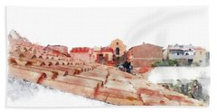 Arzachena Roof And Church Beach Towel