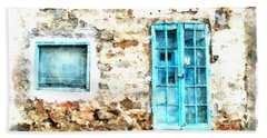Arzachena Window And Blue Door Store Beach Sheet