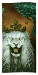 Beach Towel featuring the painting As The Lion Laughs by Leah Saulnier The Painting Maniac