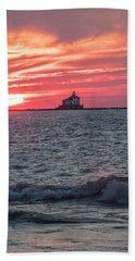 Ashtabula Ohio Lighthouse At Sunset  Beach Towel
