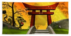 Asian Art Chinese Landscape  Beach Towel by John Wills