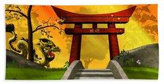 Asian Art Chinese Landscape  Beach Sheet by John Wills