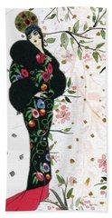 Asian Art Deco Beauty Beach Sheet