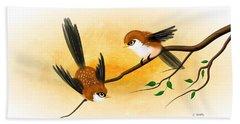Asian Art Two Little Sparrows Beach Towel