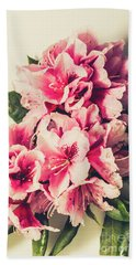 Asian Floral Rhododendron Flowers Beach Towel