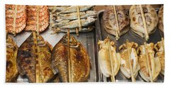 Asian Grilled Barbecued Seafood In Kep Market Cambodia Beach Towel