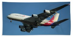 Asiana Airlines Airbus A380 H L 7625 Landing L A X Los Angeles Airplane Art  Beach Towel