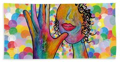Asl Mother On A Bright Bubble Background Beach Towel