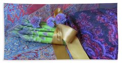 Beach Towel featuring the photograph Asparagus And Cornflowers, Garden Blessings by Nancy Lee Moran