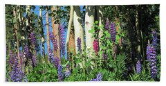 Beach Towel featuring the photograph Aspen And Lupine by Marilyn Hunt