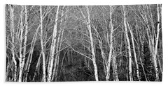 Aspen Forest Black And White Print Beach Towel
